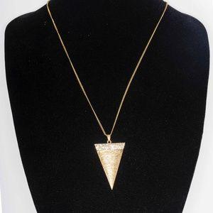 costume gold & diamond triangle pendant necklace